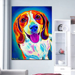 Smiling Beagle Print Oil Painting