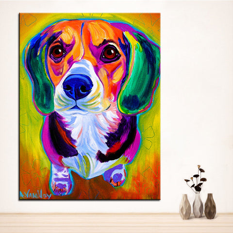 Large Beagle Oil Painting