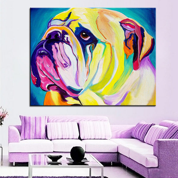 Large English Bulldog Print Oil Painting