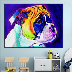 English Bulldog Puppy Print Oil Painting