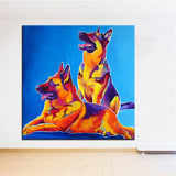 Two German Shepherds Print Oil Painting