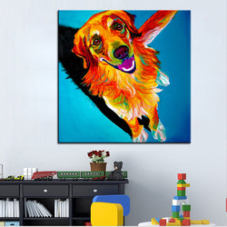 Golden Retriever Print Oil Painting