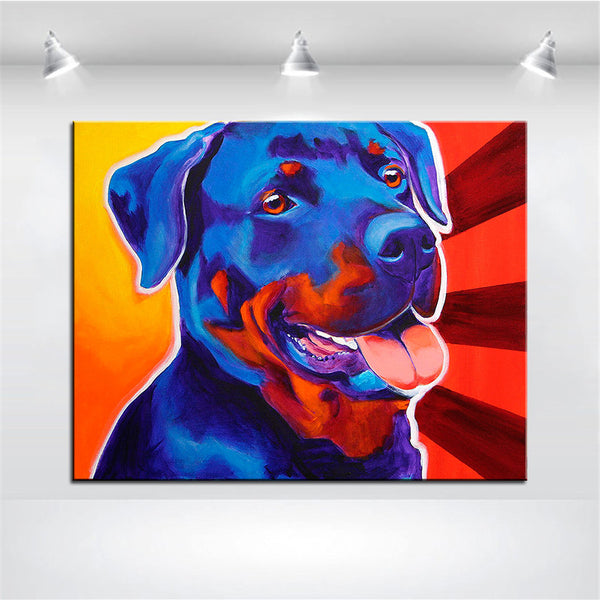 Smiling Rottweiler Print Oil Painting