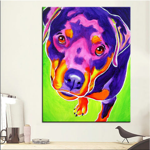 Rottweiler Giving the Look Print Oil Painting