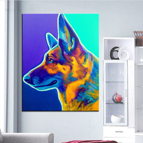 German Shepherd Profile Large Print Oil Painting