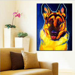 German Shepherd Portrait Print Oil Painting
