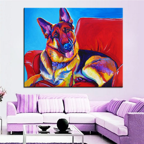 Large German Shepherd Print Oil Painting