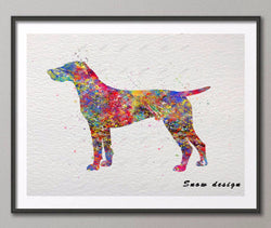 German Shorthaired Pointer Watercolor Canvas Painting