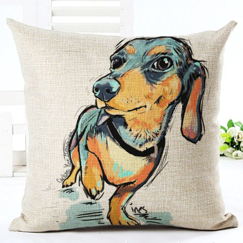 Square Cotton Dachshund Cushion Cover