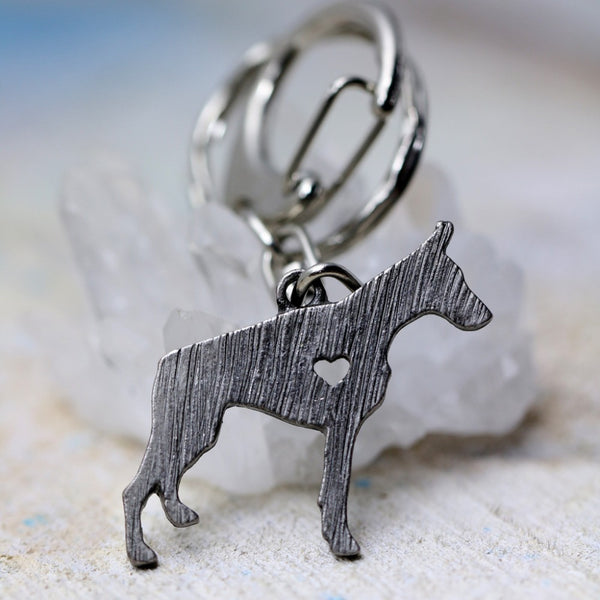 Metal Doberman Pinscher Key Chain