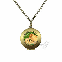 Golden Retriever Picture Glass Dome Locket Pendant