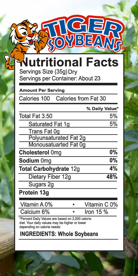 Tiger Soybeans Nutrition Label