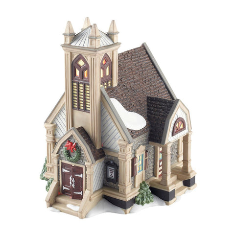 Department 56 New England Village New Britain Vestry Church Lit House, 6.69 inch