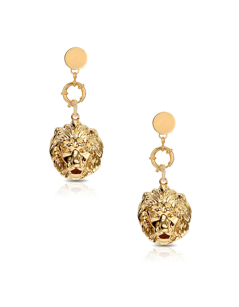 Lion Head Drop Earrings