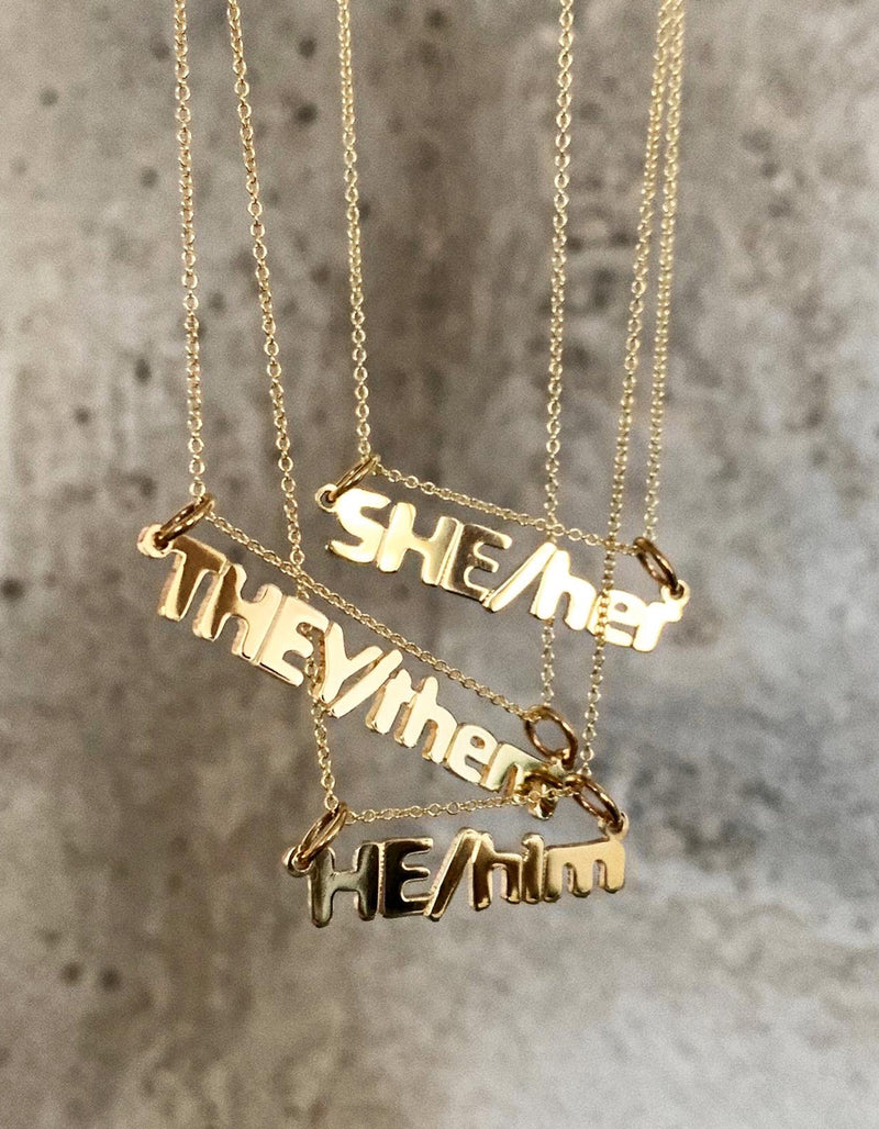 THEY/them Nameplate Necklace