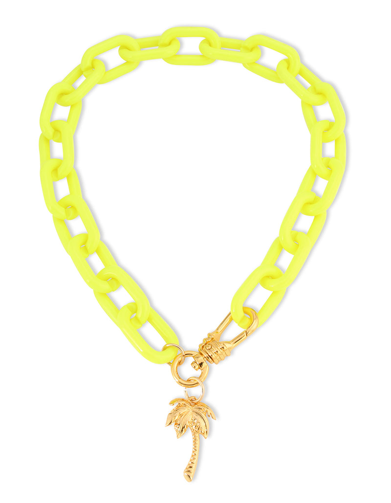 Neon Palm Shorty Necklace