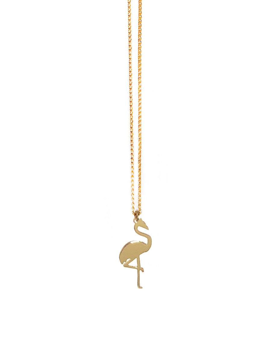 14K Flamingo Pendant Necklace