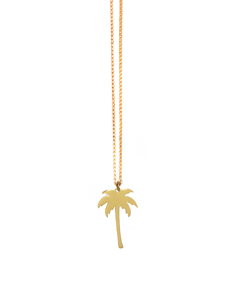 14K Palm Tree Pendant Necklace