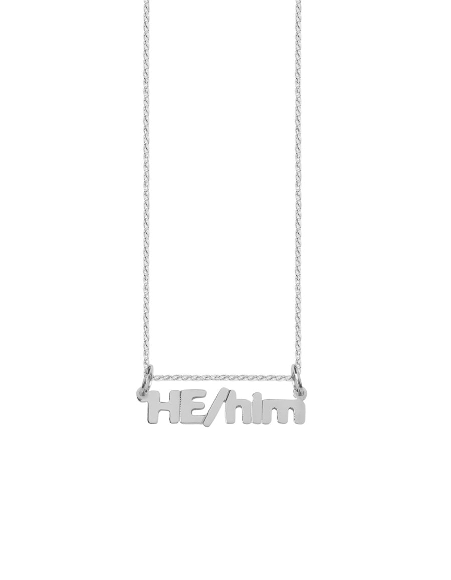 14K HE/him Nameplate Necklace