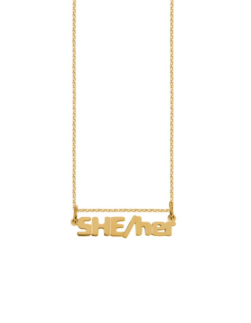 SHE/her Nameplate Necklace