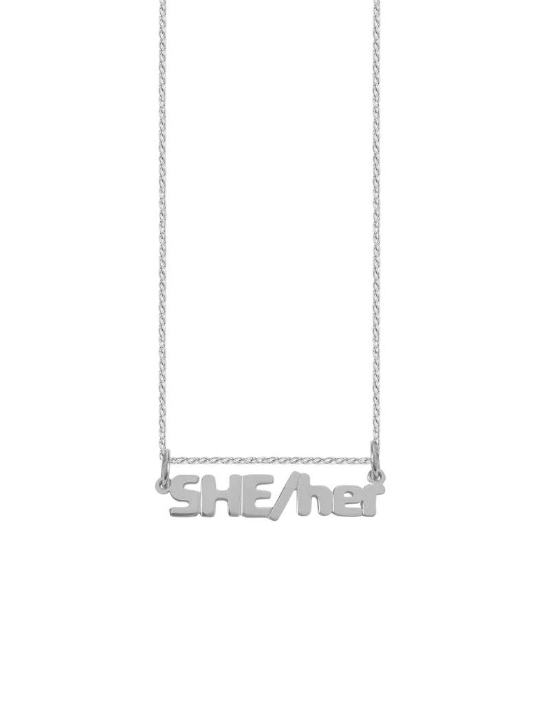 14K SHE/her Nameplate Necklace