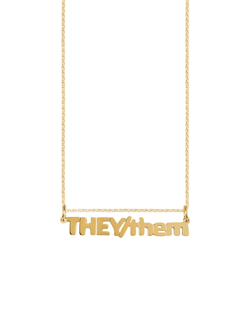 14K THEY/them Nameplate Necklace
