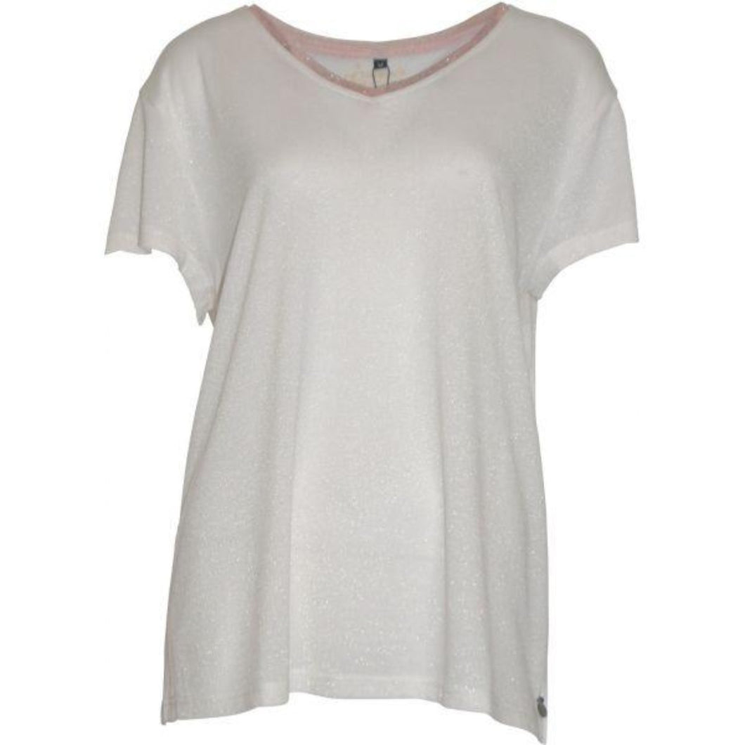 Maoz 2 White Shimmer Pull-on Top w. Short Sleeve