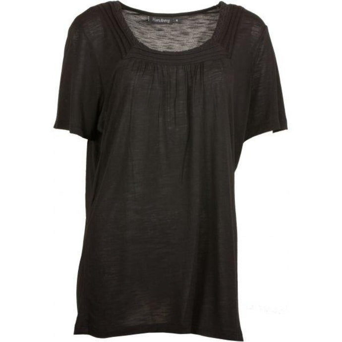Pleated Collar Detail Top w.Short Sleeve