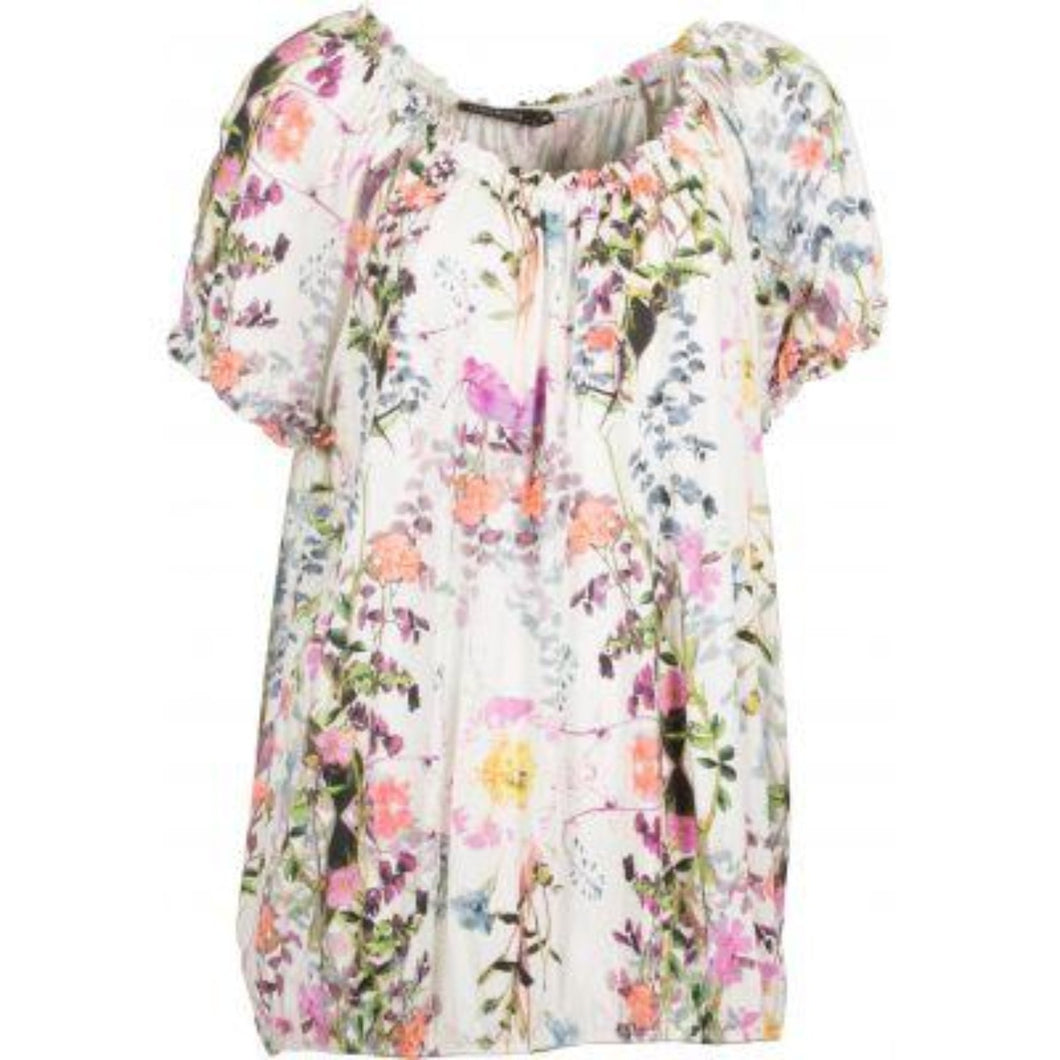 Floral Print Top w.Elastic Short Sleeve
