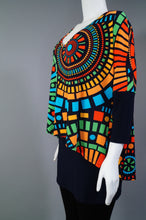 Colourful Tunic w. Overlay 3/4 Slv