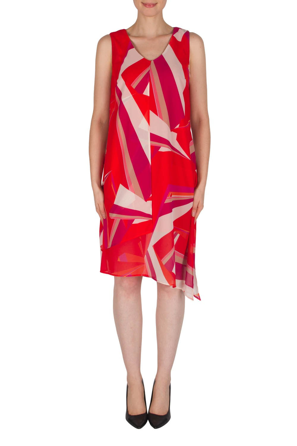 Flowing Graphic Print Dress w.Tie Up Back