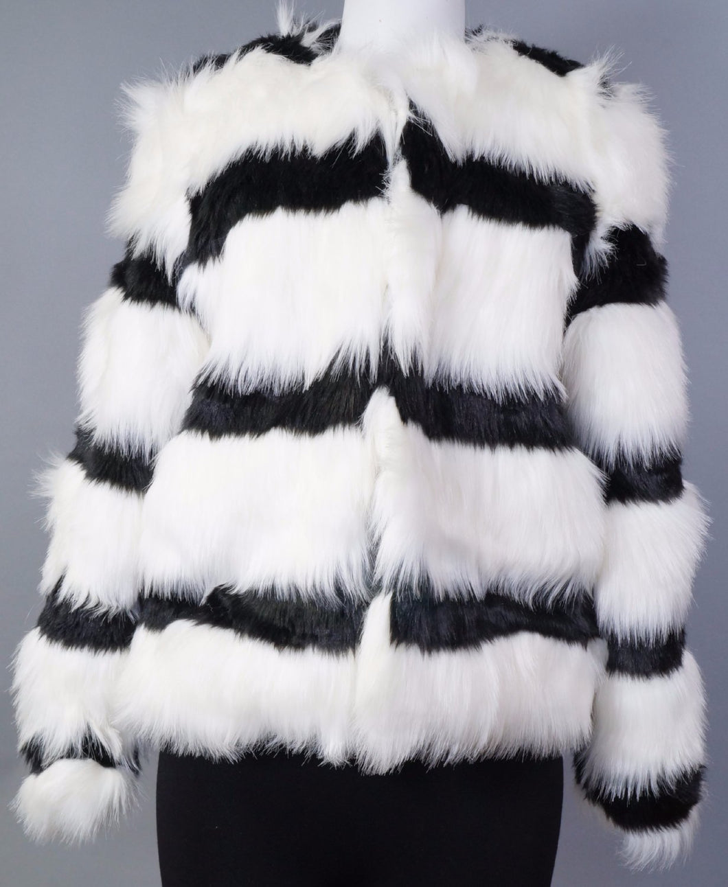 Bentley Striped Faux Fur Jacket