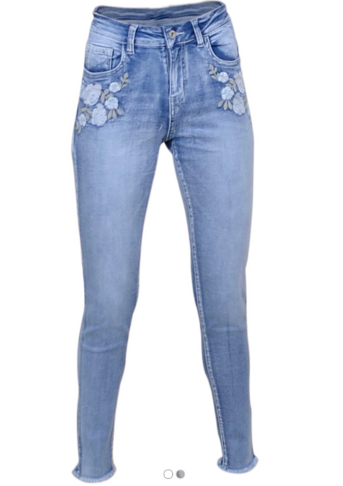 Flower Jeans W. Raw Edge