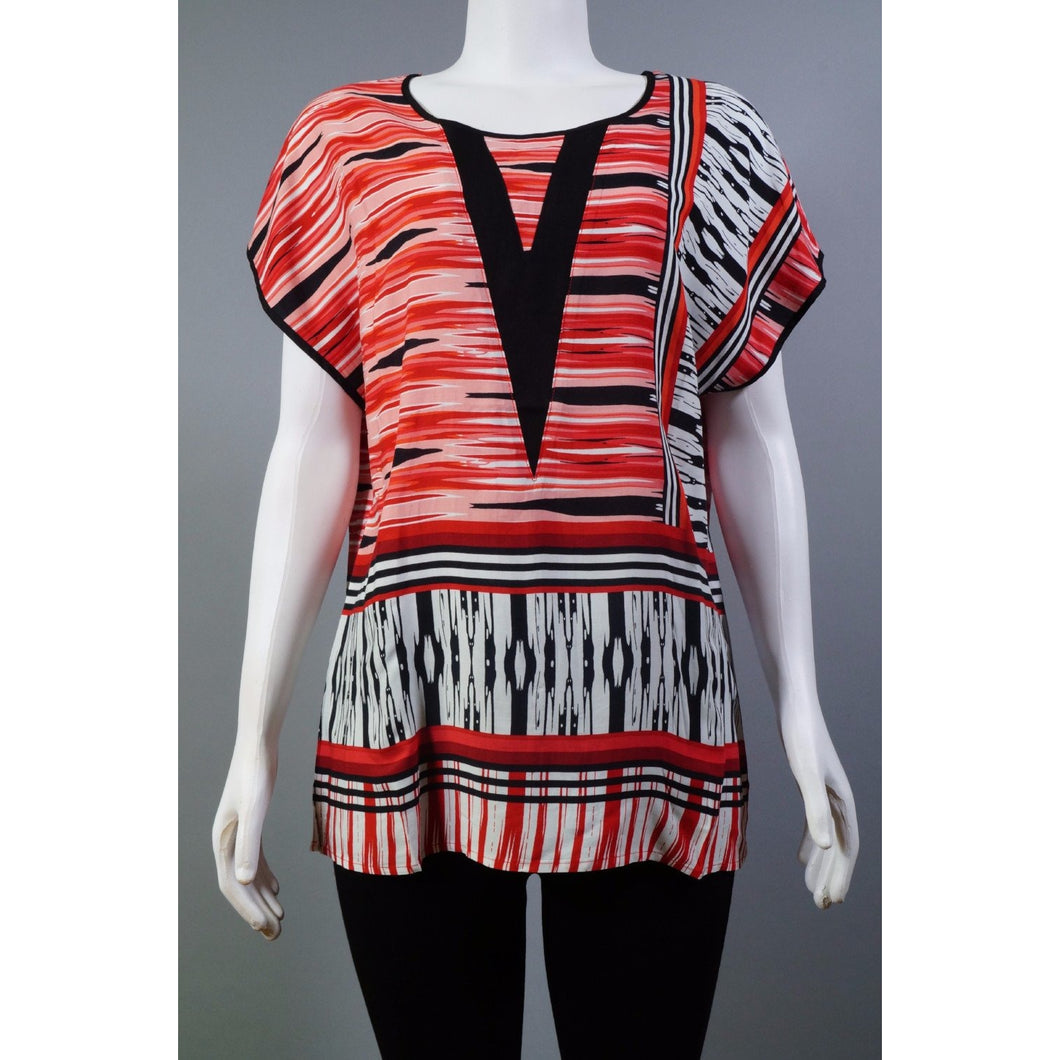 Striped V ss Blouse RED