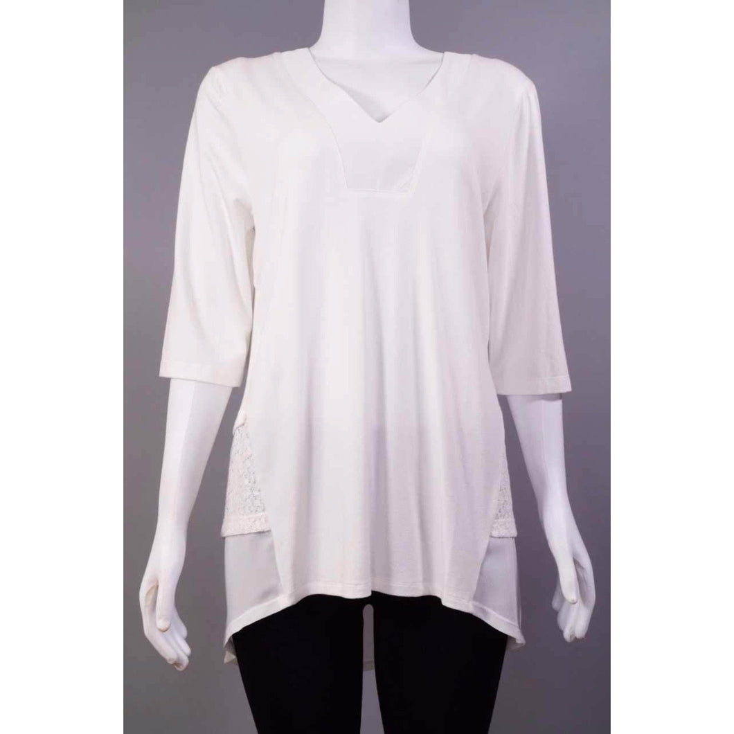 Loose 3/4 VNeck Top w.Lace OFW