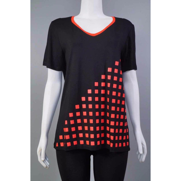V-Neck Tee w.Squares BLK/RED