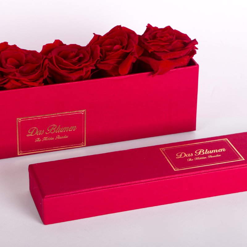 Estuche Rectangular Mini con Rosas Eternas