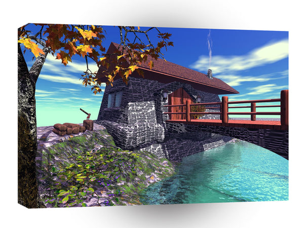 3d Art Cottage Wharf A1 Canvas