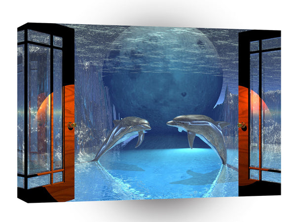3d Art Dolphin Together A1 Canvas