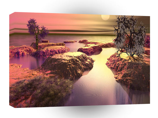 3d Art Shoreline Delight A1 Canvas