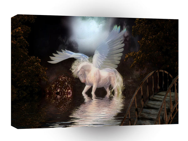 Abstract Angel White Horse A1 Canvas