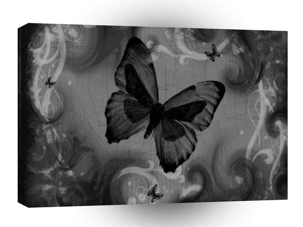 Abstract Animal Black Butterfly A1 Canvas