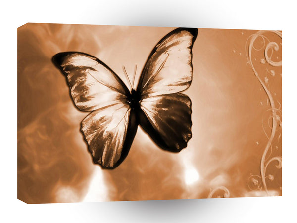 Abstract Animal Butterfly Brown A1 Canvas