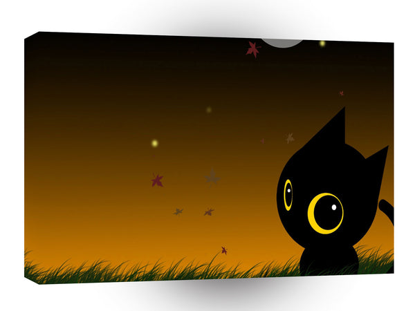 Abstract Animal Cute Night Cat A1 Canvas