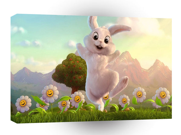 Abstract Animal Easter Bunny Skip A1 Canvas