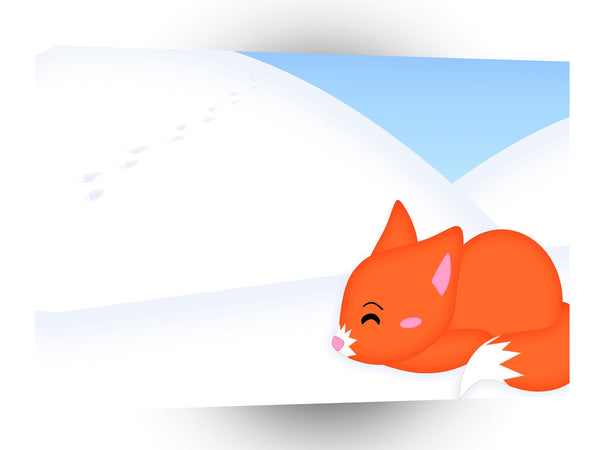 Abstract Animal Sleepy Fox A1 Canvas