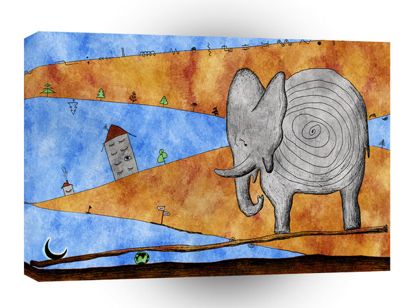 Abstract Animals Elephant Sea Saw Moon A1 Canvas