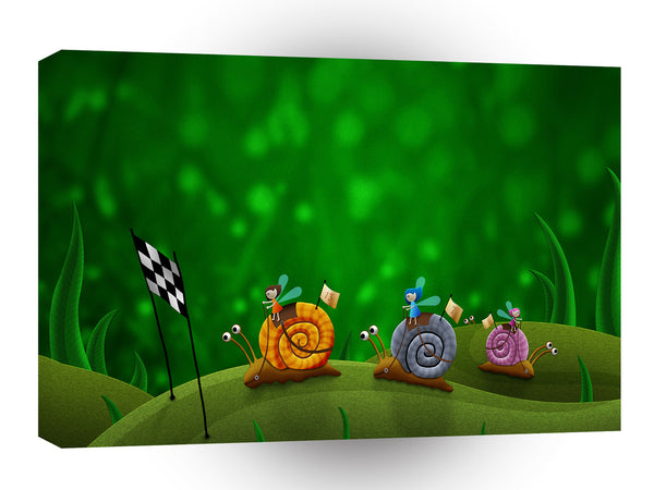 Abstract Animals Fairy Snail Racing A1 Canvas