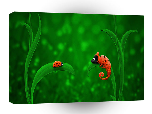 Abstract Animals Ladybug Chameleon Friends A1 Canvas