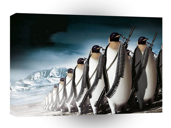 Abstract Animals Penguin Marching Army A1 Canvas